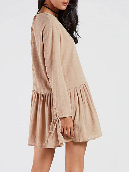 Khaki Frill Hem Button Back Long Sleeve Tie Cuff Dress