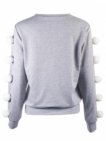 Gray Pom Pom Trim Long Sleeve Sweatshirt