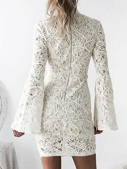 White High Neck Bell Sleeve Lace Dress