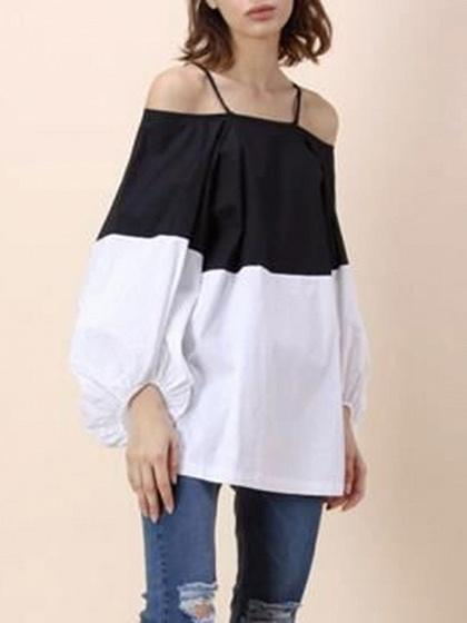Color Block Off Shoulder Spaghetti Strap Balloon Sleeves Blouse