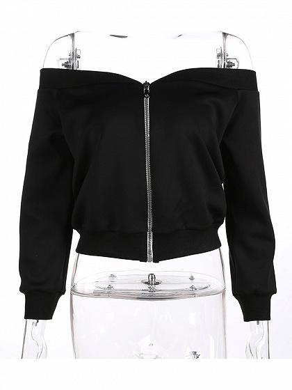 Black Off Shoulder Zip Up Front Long Sleeve Crop Top