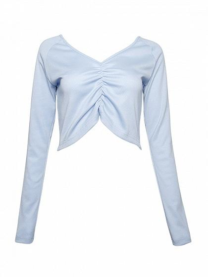 Blue V Neck Ruched Front Long Sleeve Crop Top
