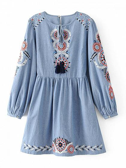 Blue Tribal Embroidery Tie Waist Long Sleeve Dress