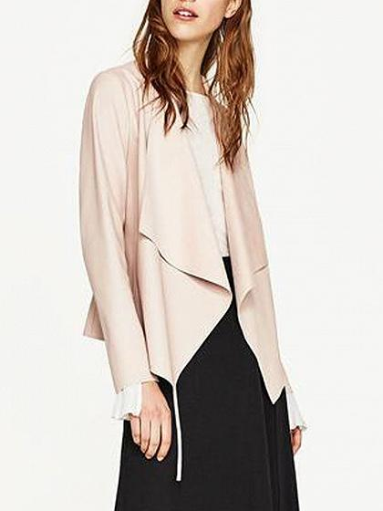 Pink Leather Look Waterfall Front Long Sleeve Jacket