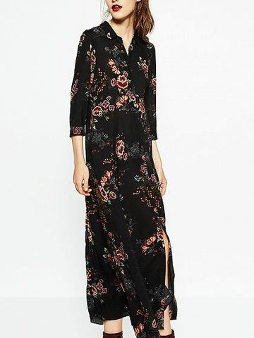 Black Floral Split Maxi Skirt Dress