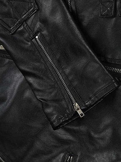 Black Notch Lapel Leather Look Biker Jacket