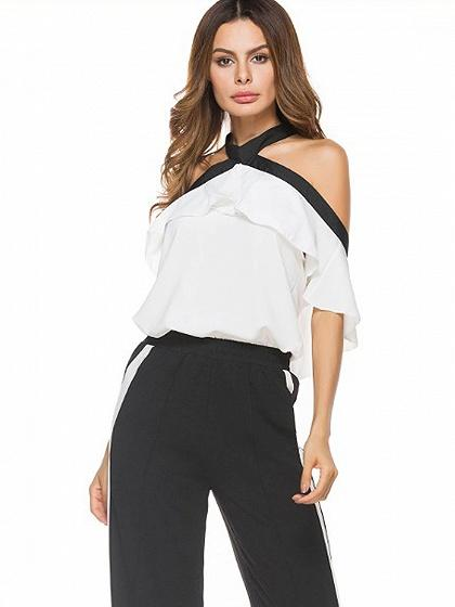 White Halter Tie Neck Cold Shoulder Ruffle Contrast Trim Top