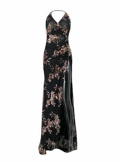 Black Sequins Floral V-neck Thigh Side Split Backless Maxi Dress