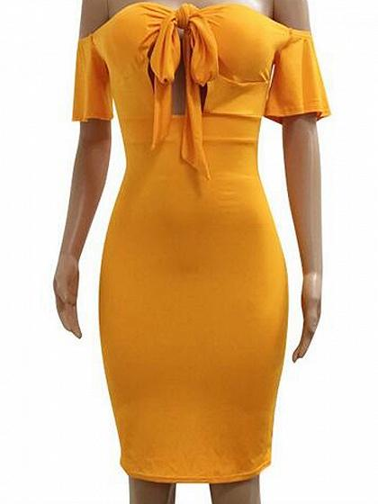 Yellow Off Shoulder Tie Bow Front Cut Out Bodycon Mini Dress