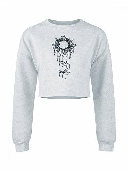 Gray Sun And Moon Print Long Sleeve Cropped Sweatshirt