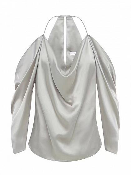 Gray Cold Shoulder Keyhole Back Satin Long Sleeve Cami Top