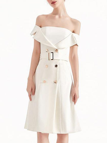 White Notch Lapel Double Breasted Belted Midi Dress