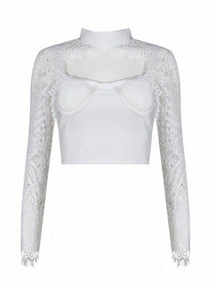 White High Neck Sweetheart Sheer Lace Sleeve Crop Top