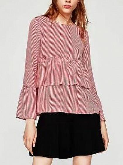 Red Stripe Flare Sleeve Layered Blouse Top