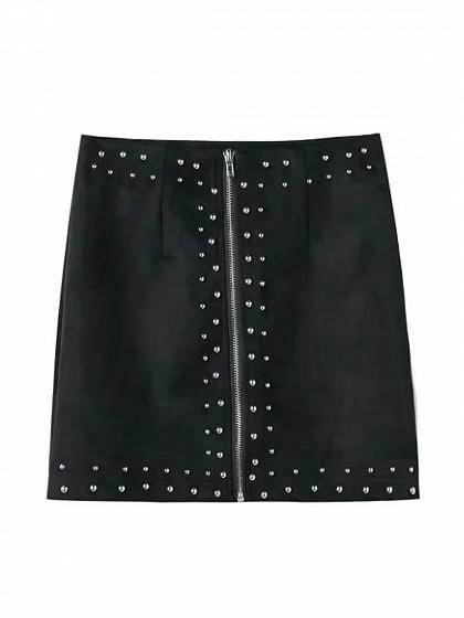 Black Faux Suede High Waist Studs Zip Up Front Pencil Mini Skirt