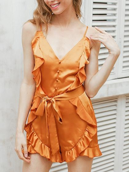 Orange Satin V Neck Frill Trim Tie Waist Cami Romper Playsuit