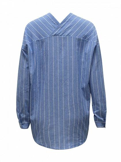 Blue Stripe V Neck Long Sleeve Shirt