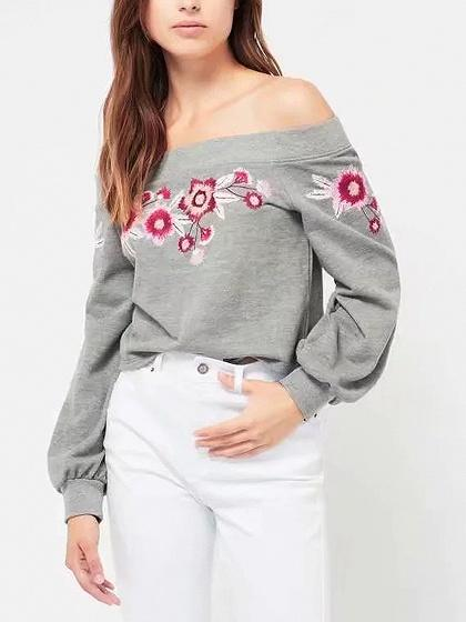 Gray Off Shoulder Embroidery Floral Long Sleeve Sweatshirt