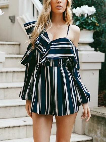 b14e85399b7 ... Navy Stripe One Shoulder Ruffle Detail Cut Out Romper Playsuit ...