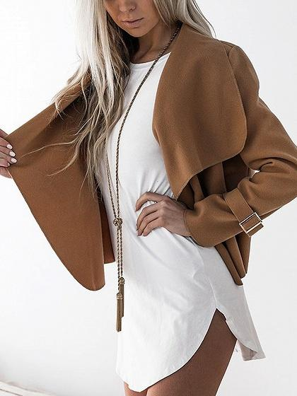 Brown Turn-down Collar Long Sleeve Open Waterfall Front Coat