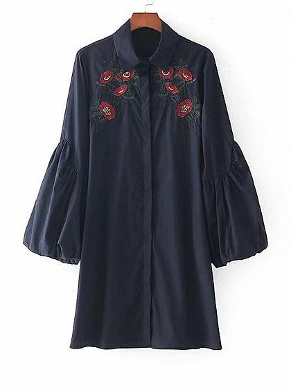 Navy Shirt Collar Embroidery Floral Puff Sleeve Dress
