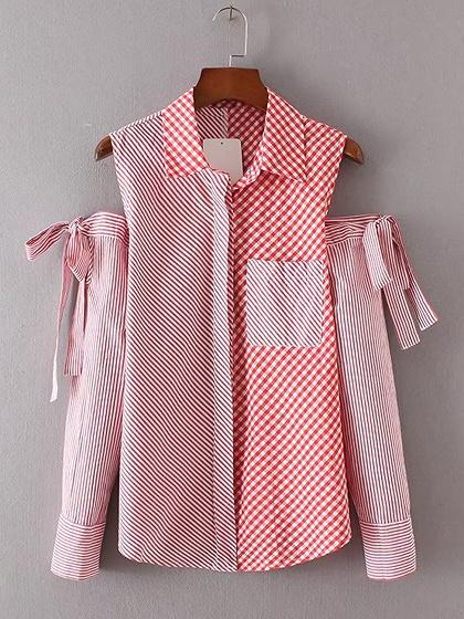 Red Stripe and Gingham Mixed Cold Shoulder Tied Sleeve Shirt