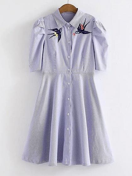 Blue Stripe Embroidery Half Sleeve A-line Shirt Dress