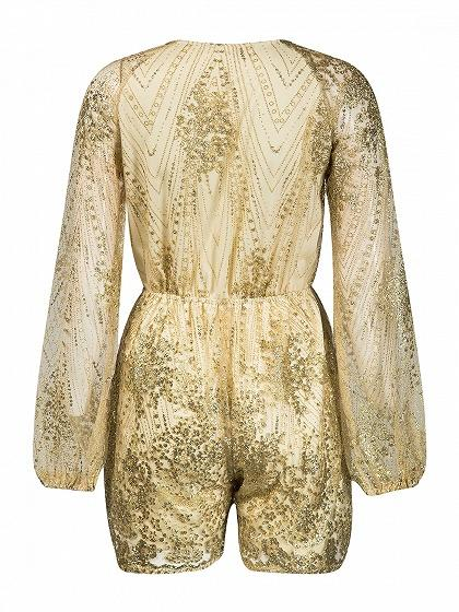 Golden Plunge Neck Sparkle Sheer Sleeve Mesh Overlay Romper