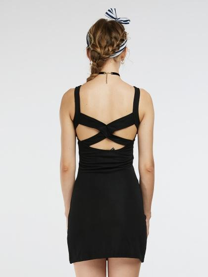 Black Cut Out Mesh Insert Cross Strap Mini Bodycon Tank Dress