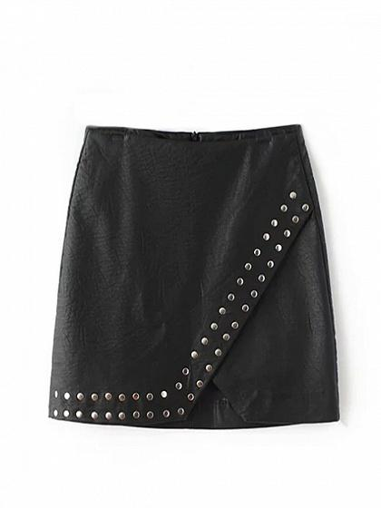 Black High Waist Stud Detail Leather Look Pencil Mini Skirt