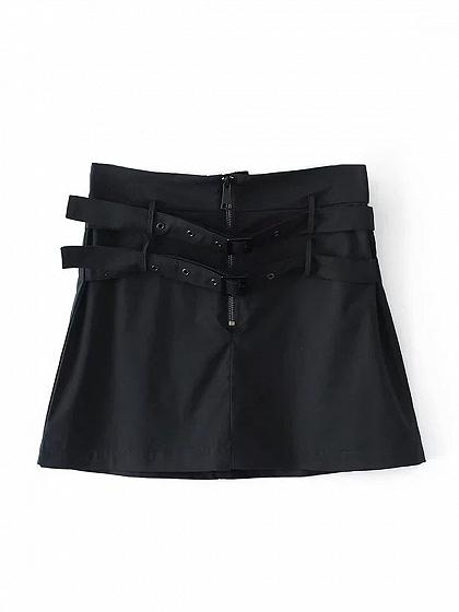 Black Double Belt Zip Front Mini Skirt