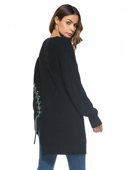 Black Contrast Lace Up Detail Asymmetric Hem Knit Sweater