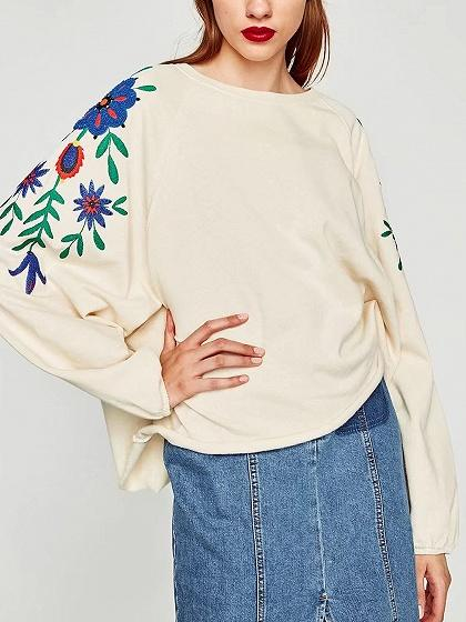 White Floral Pattern Long Sleeve Sweatshirt