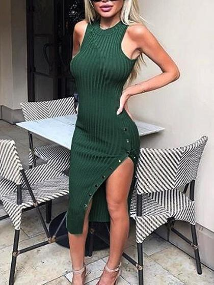Green Sleeveless Side Split Popper Button Ribbed Bodycon Dress