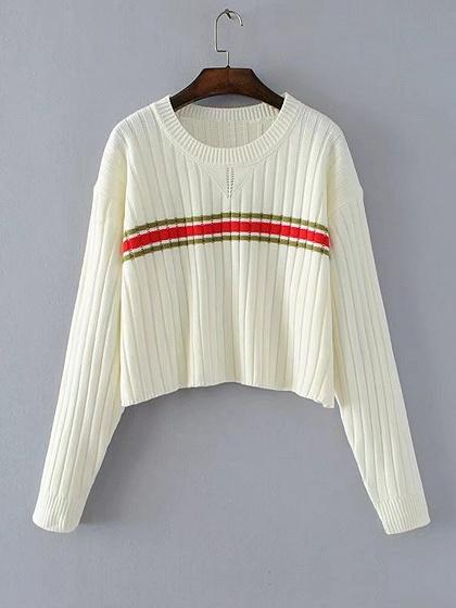 White Contrast Stripe Long Sleeve Cropped Knit Jumper