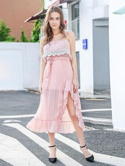 Pink Bandeau Layer Ruffle Trim Tie Waist Midi Dress