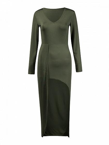 Army Green V-neck Long Sleeve Hi-lo Maxi Dress