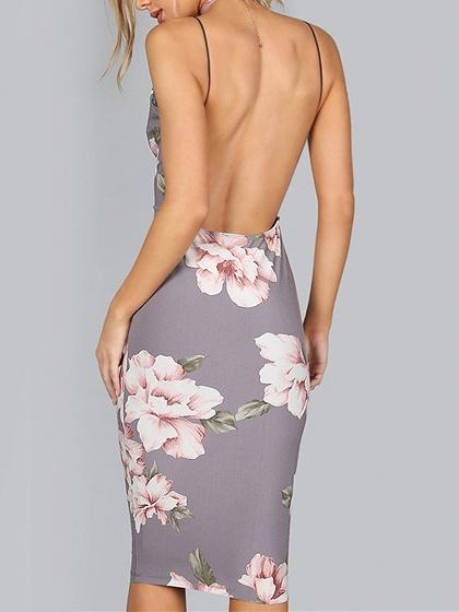 Purple V-neck Floral Backless Boddycon Dress
