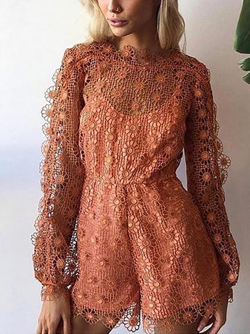Orange Cut Out Lace Overlay Long Sleeve Romper Playsuit