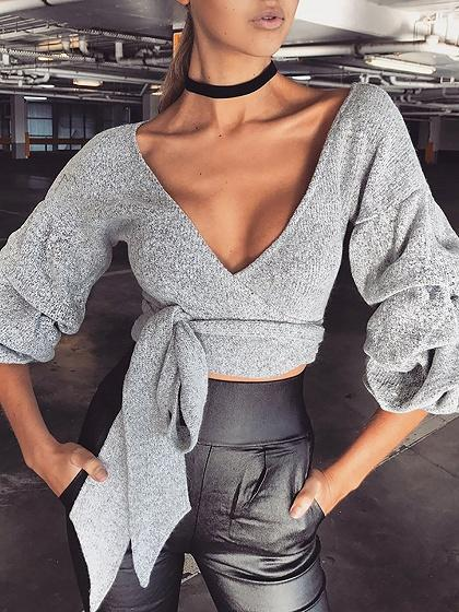 Gray Plunge V-neck Tie Waist Puff Sleeve Cropped Knit Sweater