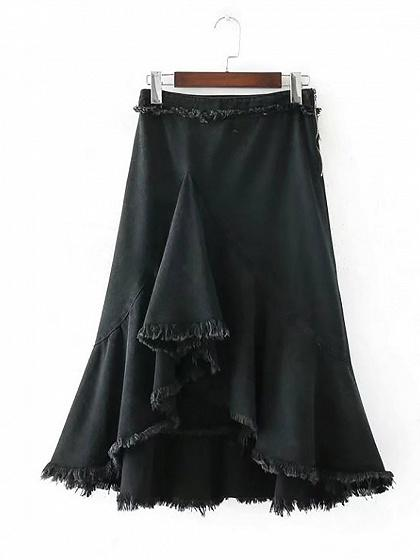 Black High Waist Hi-Lo Ruffle Hem Denim Skirt