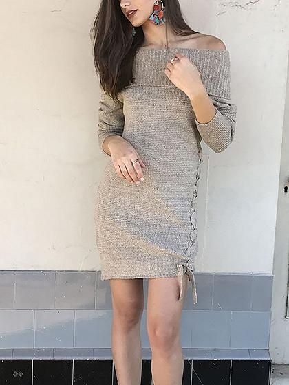 Beige Off Shoulder Lace Up Long Sleeve Shift Knit Dress