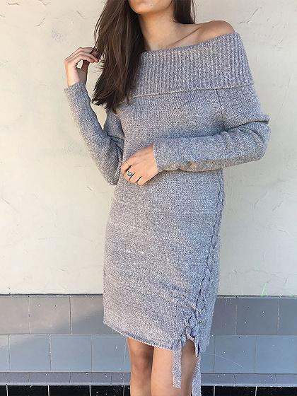 Gray Off Shoulder Lace Up Long Sleeve Shift Knit Dress
