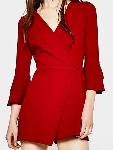 Red V-neck Wrap Front Flare Sleeve Romper Playsuit