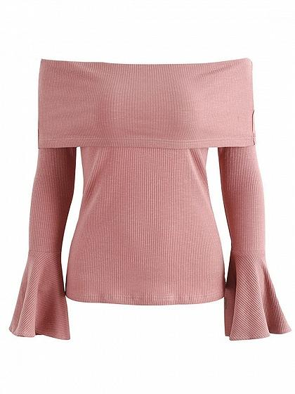 Pink Foldover Off Shoulder Flare Sleeve Ribbed Top