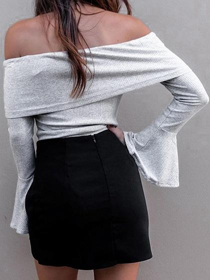 Gray Foldover Off Shoulder Flare Sleeve Ribbed Top
