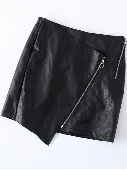 Black High Waist Zip Detail Asymmetric Hem PU Mini Skirt