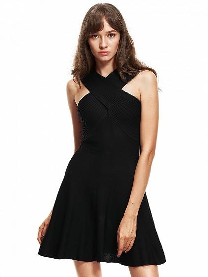 Black Cross Neck Sleeveless Knitted Mini Dress