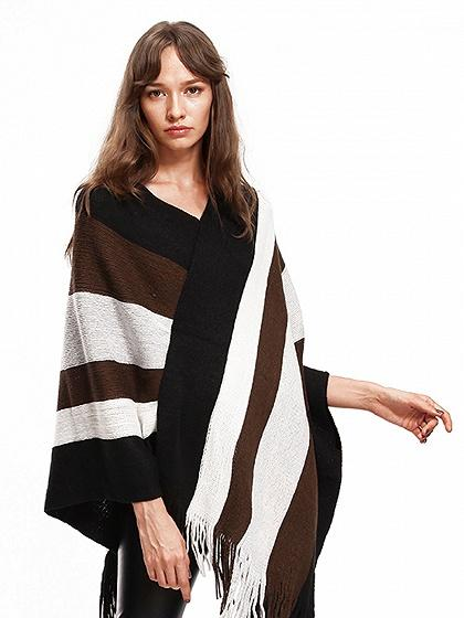 Black V-neck Geo Pattern Fringe Hem Knit Poncho
