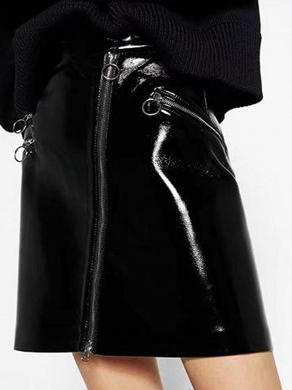 Black High Waist Zipper Detail Leather Look Mini Skirt